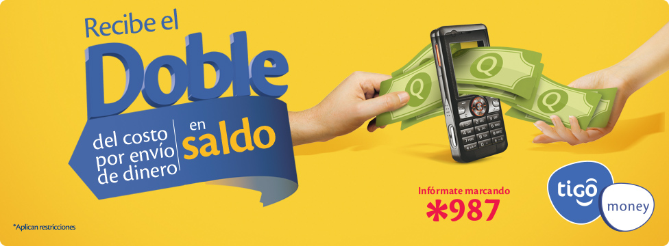 Tigo Money te regala el doble en saldo